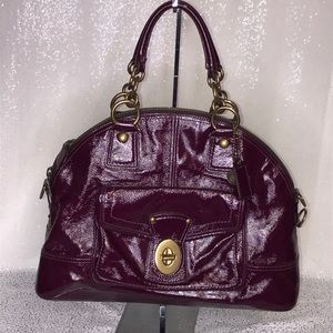 COACH Francine Purple Patent Leather Handbag